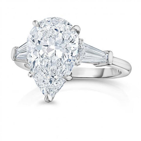 2.46 Carats Sparkling Diamonds Engagement Ring Three Stone White Gold 14K Three Stone Ring