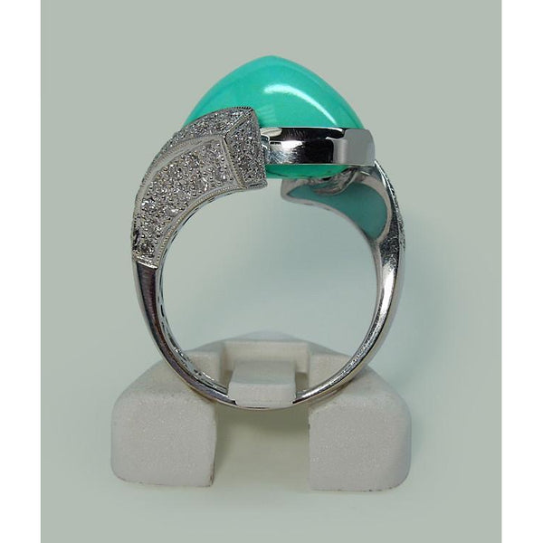 Gemstone Ring Turquoise And Diamonds White Gold 18K Engagement Ring Men Women