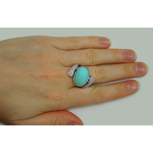 Turquoise & Diamonds White Gold 18K Engagement Ring Men Women