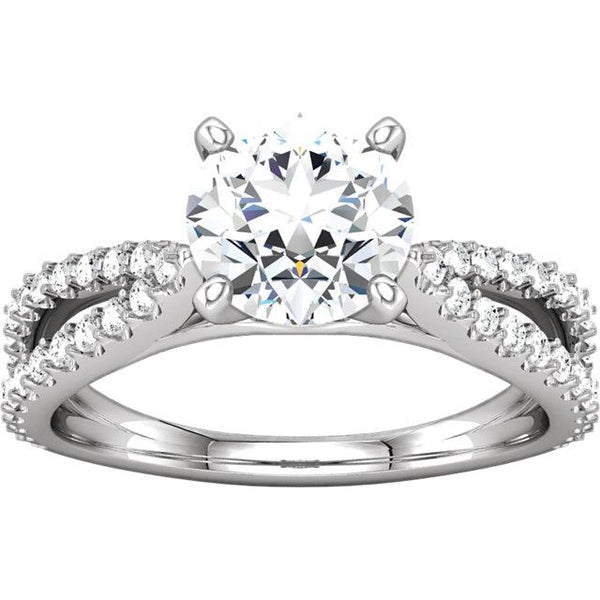 1.97 Ct Round Diamonds Solitaire With Accents Ring Solitaire Ring with Accents