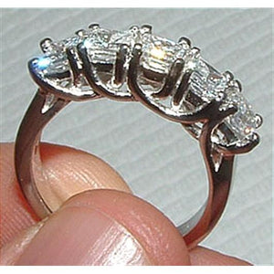2.5 Carat Five Stone Princess Cut Diamond Ring Band Solid White Gold New Band