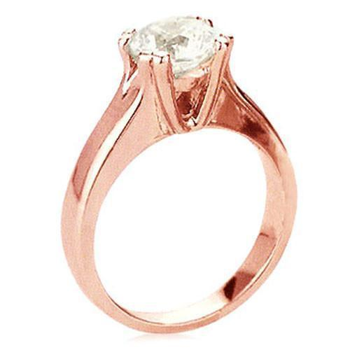 2.5 Carat H Vs1 Diamond Solitaire Ring Pink Gold L@@K Solitaire Ring