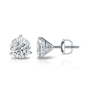 2.5 Carat Round Prong Set Diamond Stud Earring Solid White Gold 14K Stud Earrings