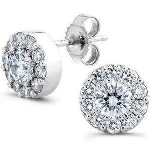 2.5 Carats Round Cut Halo Diamond Stud Earring Solid White Gold Halo Stud Earrings