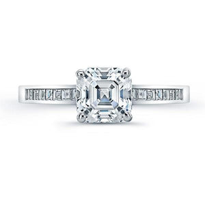 2.5 Carats Solitaire With Accents Diamond Fine Ring White Gold 14K Solitaire Ring with Accents