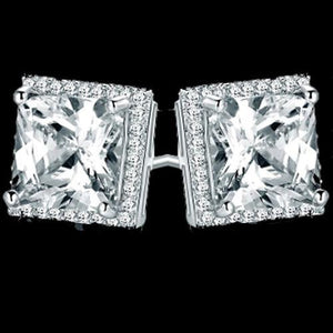 2.5 Ct Princess And Round Halo Diamond Stud Earring 14K White Gold Halo Stud Earrings