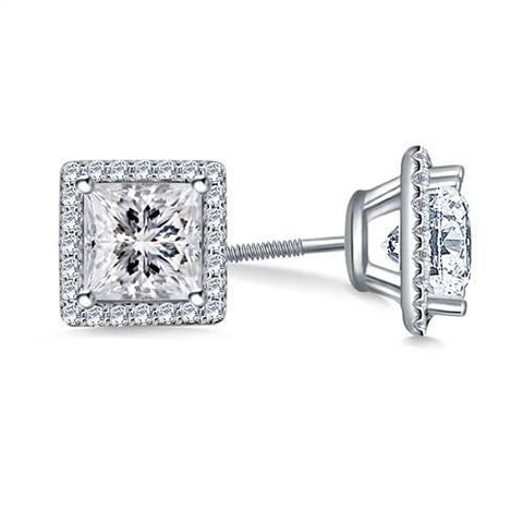 2.5 Ct Princess Halo Diamond Stud Earring 14K White Gold Halo Stud Earrings