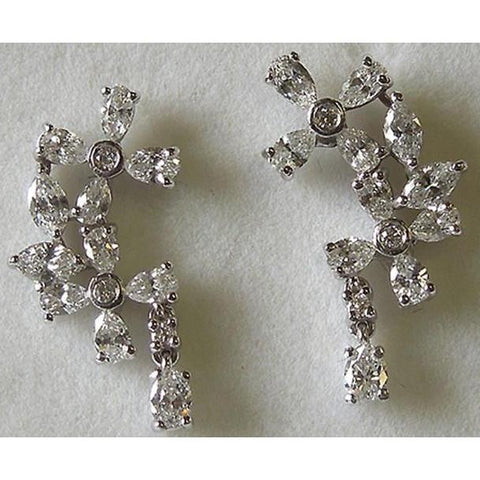 2.50 Carat Pear & Round Diamonds Chandelier Earring Pair Dangle Lady Earring Dangle Earrings