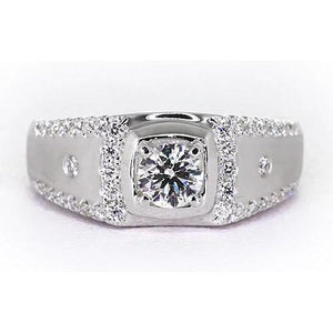 2.50 Carats Anniversary Ring Round Diamond 4 Prong Set White Gold 14K Mens Ring