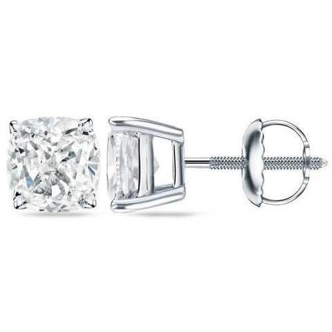2.50 Carats Cushion Cut Diamonds Ladies Studs Earring White Gold 14K Stud Earrings