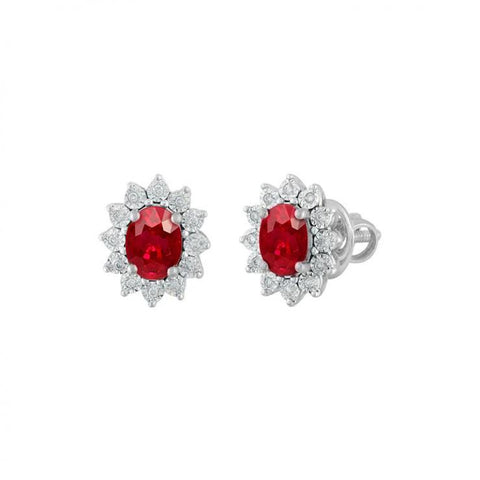 2.50 Carats Oval Cut Red Ruby Diamond Halo Stud Earring 14K White Gold Gemstone Earring