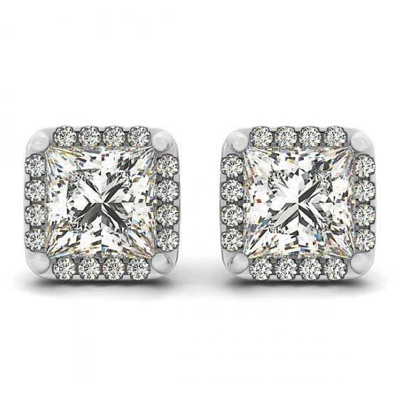 2.50 Carats Princess Center Diamond Studs Earrings Halo White Gold 14K Halo Stud Earrings