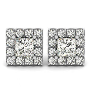 2.50 Carats Princess & Round Diamonds Studs Halo Earrings White Gold 14K Halo Stud Earrings