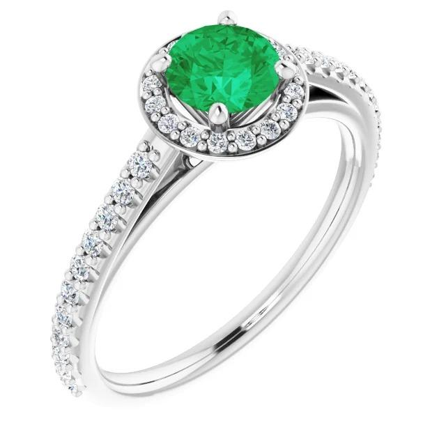 2.50 Carats Ring Round Halo Green Emerald White Gold 14K Gemstone Ring