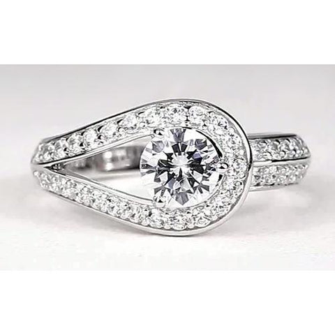 2.50 Carats Round Diamond Ring Unique Shank Style White Gold 14K Engagement Ring