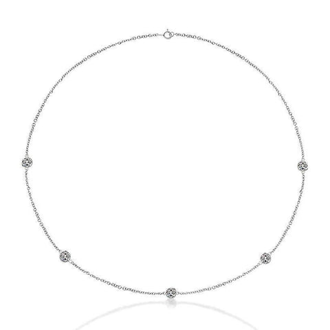 "2.50 Carats Round Diamonds By Yard Necklace White Gold 14K 18"" Inch Necklace"