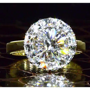 2.50 Carats Yellow Gold 14K Round Halo Style Diamond Engagement Ring Halo Ring