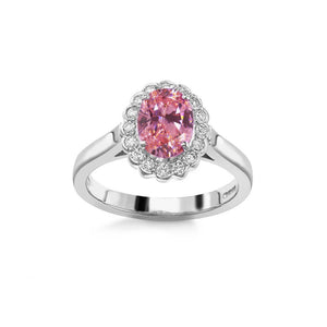 2.50 Ct Pink Sapphire And Round Diamonds Anniversary Ring Gold Gemstone Ring