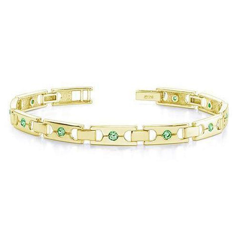 2.50 Ct Round Cut Green Emeralds Single Buckle Link Bracelet Yg 14K Tennis Bracelet