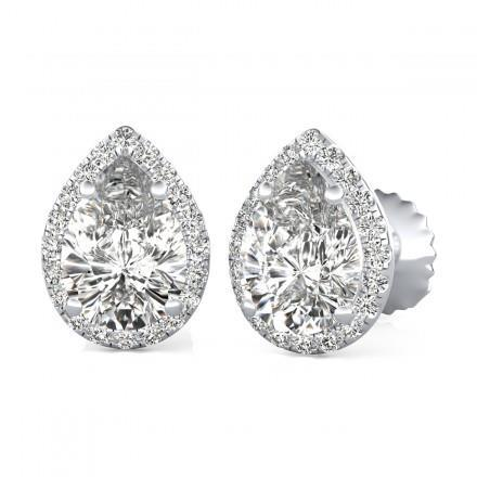 2.50 Pear & Round Halo Diamond Stud Earring White Gold 14K Halo Stud Earrings