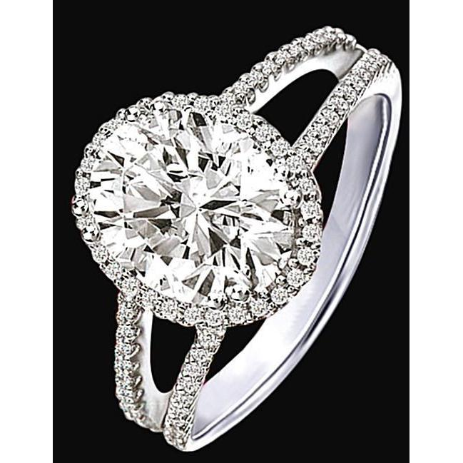 2.51 Carat Halo Diamonds Engagement Ring Double Shank White Gold 14K Halo Ring