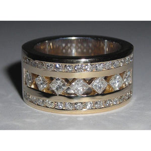 2.51 Ct Diamond Wedding Ring Band Two Tone Ring Band