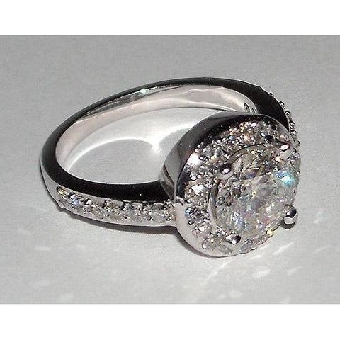 2.51 Ct F Vs1/Vvs1 Round Diamond Engagement Ring Pave Engagement Ring