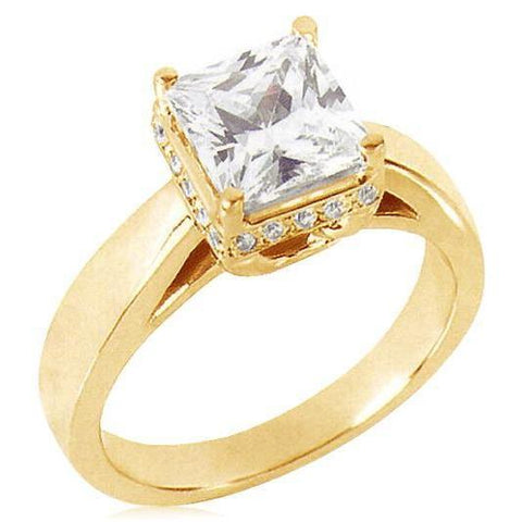 2.51 Ct.Princess Cut Diamond Yellow Gold Solitaire With Accents Ring New Solitaire Ring with Accents