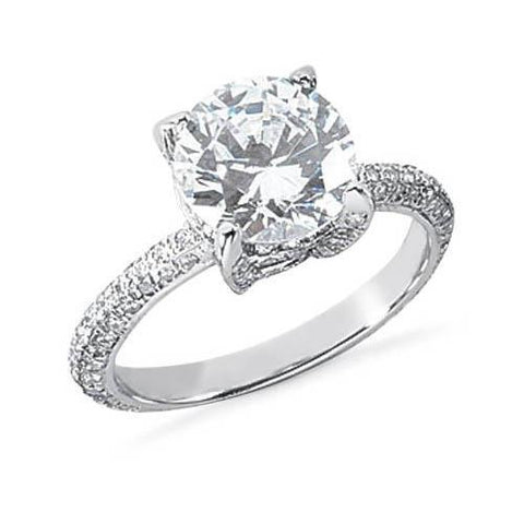 2.52 Ct Round Diamonds Solitaire With Accents Ring White Gold Solitaire Ring with Accents