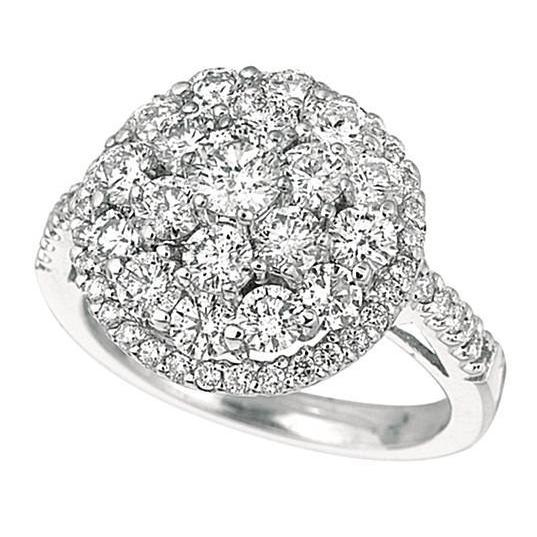 2.59 Carat Round Brilliant Diamond Prong Setting Halo Ring Gold White Halo Ring