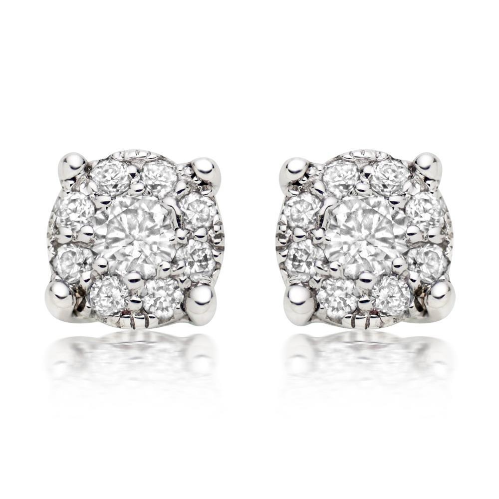 2.6 Ct Round Cut Diamond Halo Women Studs Earring 14K White Gold Halo Stud Earrings