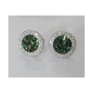 2.6 Ct Round Cut Green Sapphire And Diamond Halo Stud Earring Gemstone Earring