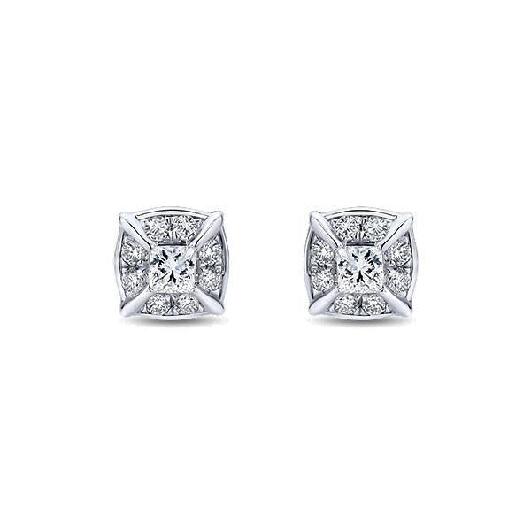 2.6 Ct Round Cut Sparkling Diamonds Lady Stud Halo Earring Halo Stud Earrings
