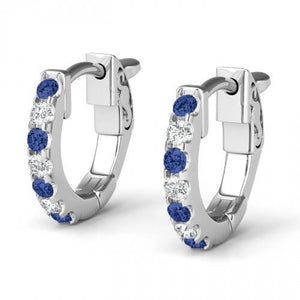 2.6 Ct Sri Lanka Sapphire & Diamond Hoop Earring Gemstone Earring