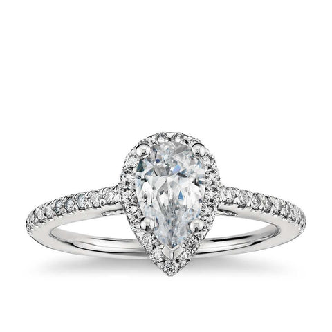 2.60 Carats Pear And Round Halo Diamond Engagement Ring White Gold 14K Anniversary Halo Ring