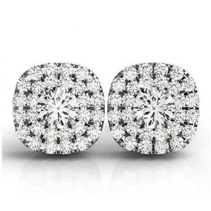 2.60 Carats Round Center Diamond Earrings White Gold Stud Halo Halo Stud Earrings