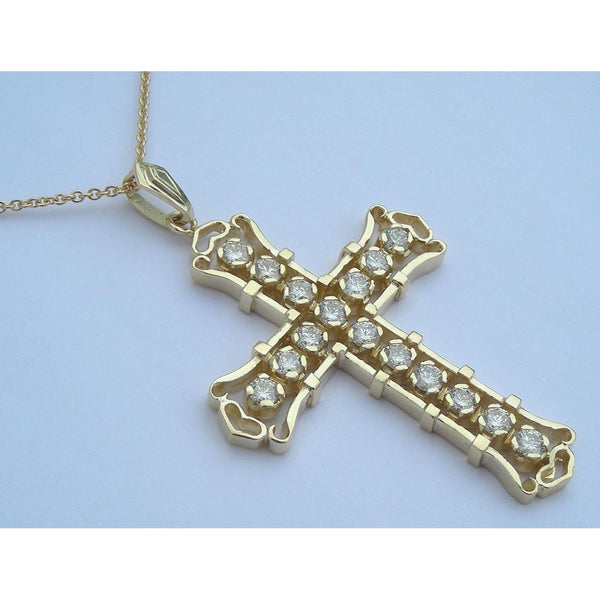 Pendant 4 Carats G Vs1 Yellow Gold Diamonds Cross Pendant Chain Necklace