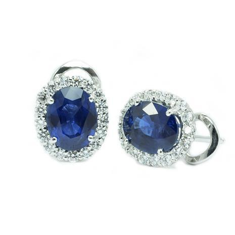 2.7 Ct Oval Sri Lanka Sapphire And Diamond Earring Gold Jewelry White Gold 14K Gemstone Earring