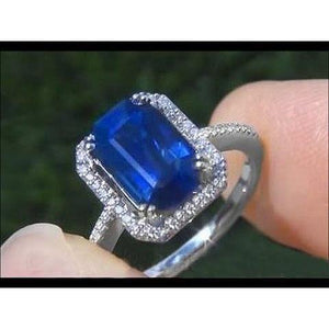 2.70 Carats Blue Emerald Cut Sapphire With Diamond Ring 14K White Gold Gemstone Ring
