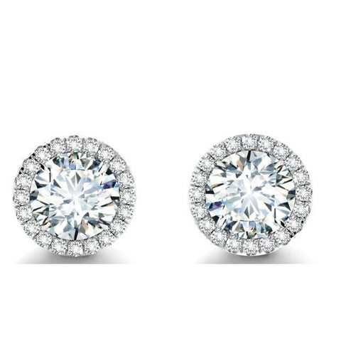 2.70 Carats Round Cut Diamond Stud Halo Earring White Gold 14K Halo Stud Earrings