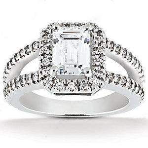 2.71 Ct. Emerald Cut Diamond With Engagement Halo Ring Halo Ring