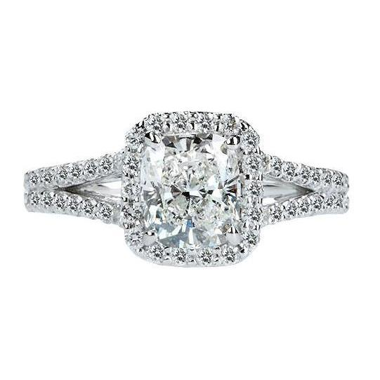 2.75 Carat Cushion Halo Diamond Royal Engagement Ring White Gold 14K Halo Ring