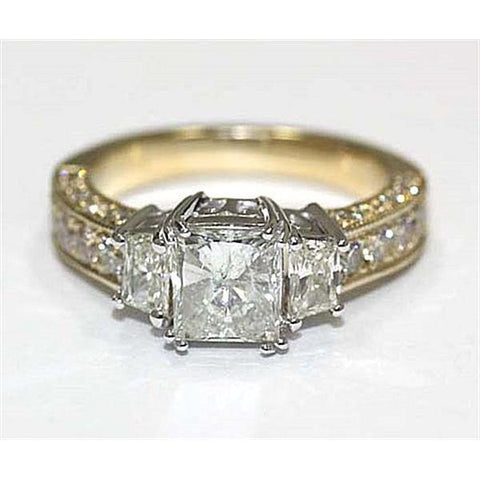2.75 Carat F Vs1 Three Stone Diamond Ring Diamond Gold Ring Solitaire Ring with Accents
