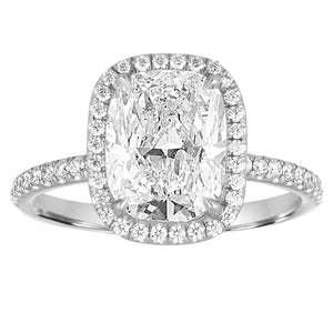 2.75 Carats Cushion Cut With Round Halo Diamond Ring White Gold 14K Halo Ring