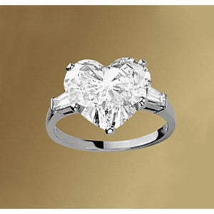 2.75 Carats Heart & Baguette Diamonds Ring 3 Stone Jewelry F Vs1 Vvs1 Three Stone Ring