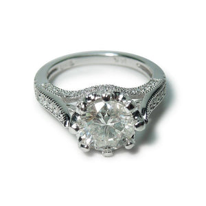 2.76 Carat Solitaire With Accents Diamond Engagement Ring White Gold 14K Solitaire Ring with Accents