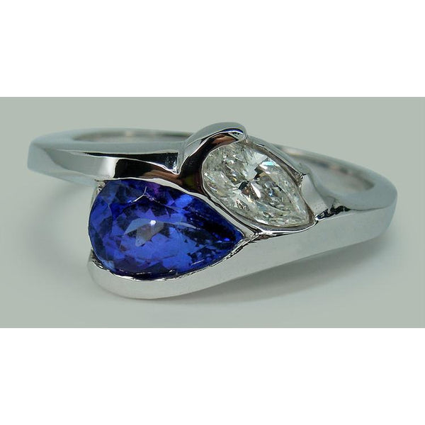 Pear Shape Infinity Tanzanite And Diamond Ring 2.50 Ct. Gold 14K