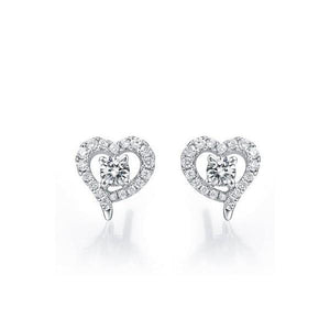 2.8 Ct Round Diamond Heart Shape Halo Women Stud Earring 14K White Gold Halo Stud Earrings