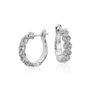 2.80 Carats Round Brilliant Cut Diamonds Women Hoop Earrings Gold 14K Hoop Earrings