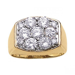2.80 Carats Round Diamonds Men'S Engagement Ring Two Tone Gold 14K Mens Ring